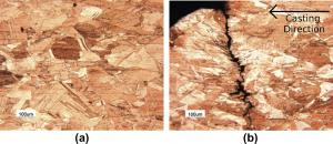 شکل۱۰- مبکروساختار در ناحیه مرکزی تیوب مسی (a) و ناحیه آسیب دیده (b)