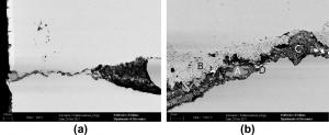 شکل۷-بررسی SEM در ناحیه آسیب دیده، جزئیات ترک