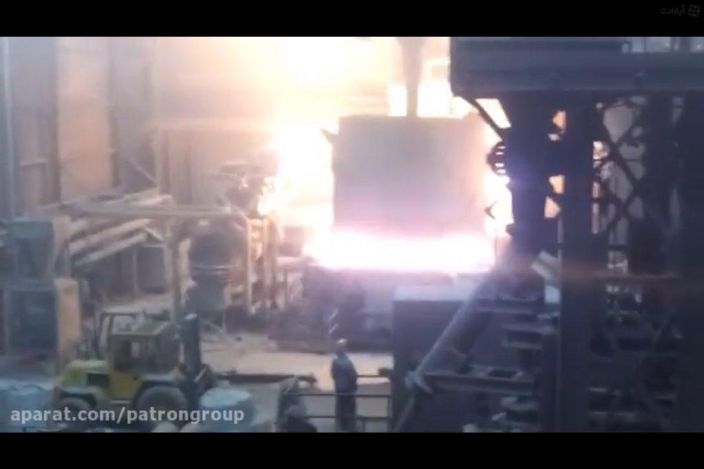فیلم انفجار کوره قوس الکتریکی با شارژ قراضه خیس